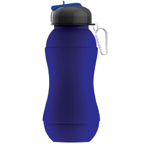 Asobu Sili-Squeeze Collapsible Silicone Hydra Bottle with Sport Lid, Blue, 24-Ounce