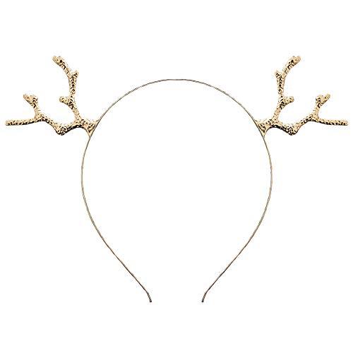 ZCMGDiadema de cuernos de reno de Navidad para mujer, diseo de cuerno de ciervo, Estilo 2: chapado en oro, 1 uds. por paquete, 1.00[set de ]