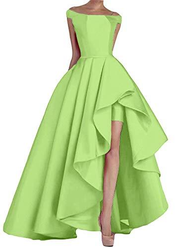 NaXY Damen Abendkleider Lang Elegant Ab-Schulter hoch niedrig Prinzessin Liebsten Asymmetrische Satin Ballkleider Lang Prinzessin Partykleid Apple Grün das Ausmaß 36