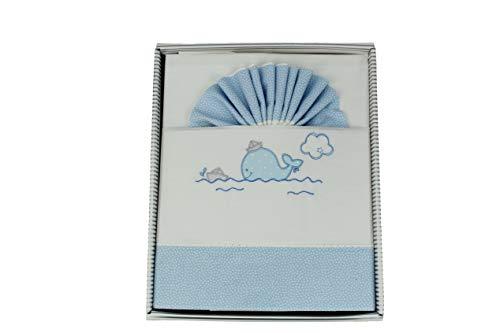 Juego de Sábanas para Cuna, Conjunto de Sábanas Bebé 3 Pcs 100% Algodón. (Ballena Azul)