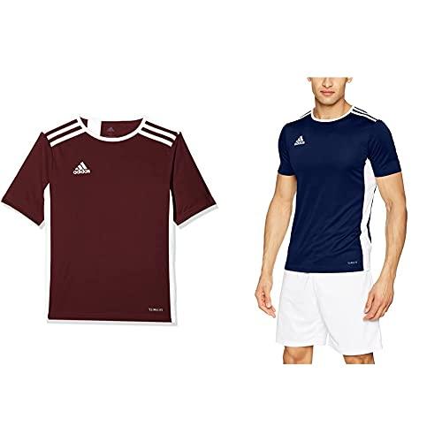 adidas Entrada 18 JSY Camiseta Manga Corta, Hombre, Marron/Blanco, M + Entrada 18 JSY Camiseta Manga Corta, Hombre, Azul Marino/Blanco, M