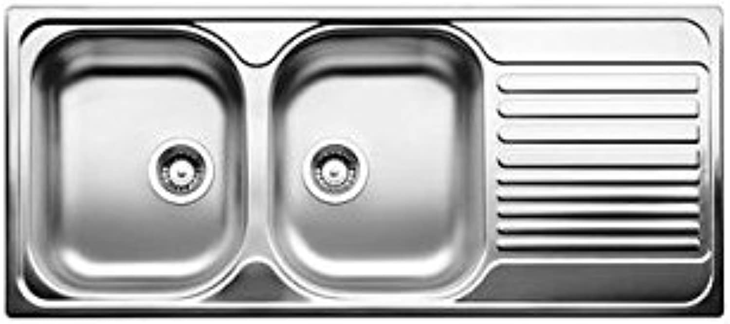 whiteo Sink?–?Left To Two Basins with Draining Board 1324951?Stainless Steel Finish 116?x 50?cm