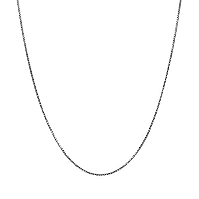 14K Solid White Gold Box Chain Necklace