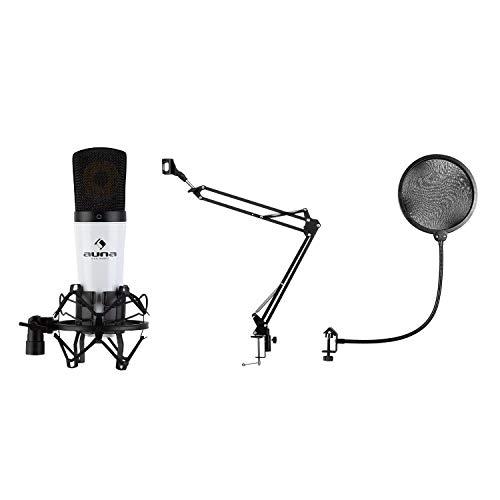auna MIC-920 – Lote de micrófono USB V4, 3 Piezas: Micro cardioide de condensación, trípode y protección Pop, Brazo orientable: Soporte y Plegable, Bolsa, Plug & Play, Windows y Mac, Blanco