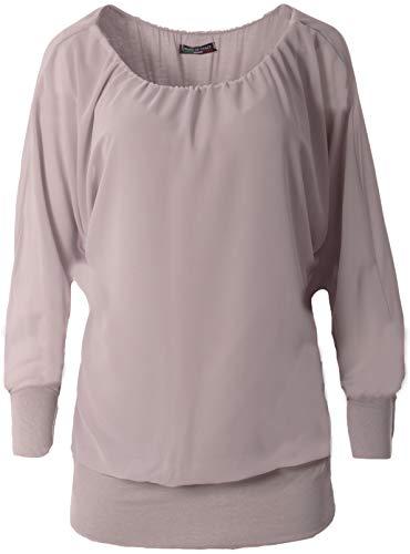 FASHION YOU WANT Damen Oversize Oberteile Tshirt/Pullover Uni Übergrößen Shirt Langarm (grau, 48/50)