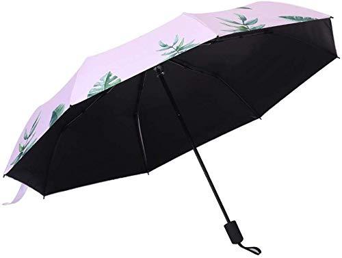Top-Qualität Regenschirm Umberllas Sonne Regen Regenschirm UV-Schutz Compact Grün Baum Blatt Foding Regenschirm Reise Mode tragbaren Windsicher Regenschutz Sonnenschirm-Regenschirm (Farbe: Rosa, Größe