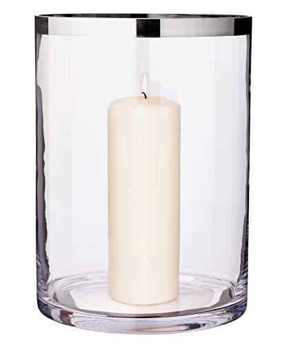 EDZARD Windlicht/Vase Molly, mundgeblasenes Kristallglas mit Platinrand, Laterne für Stumpenkerzen Höhe 30 cm, Durchmesser 29 cm