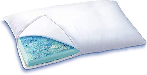 Sleep Innovations Reversible Cooling Gel Memory Foam & Memory Foam Pillow Hypoallergenic Cover,...