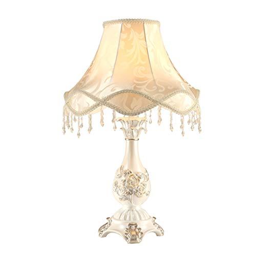 Home - Table Light ZWeiD witte hars tafellamp, bruiloft nachtkastje tuin lamp met franjes lampenkap gesneden Rose tafellamp 30 * 60cm E27 verlichting tafellamp