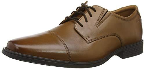 Clarks Tilden Cap, Zapatos de Cordones Derby Hombre, Negro (Black Leather), 43 EU