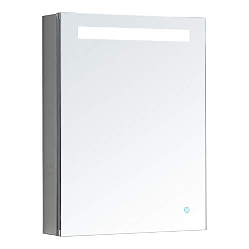 AQUADOM Pacifica, LED Medicine Cabinet, Automatic Defogger, Touch Screen Button, Electrical Outlet (20in x 26in x 5in Right Hinge)