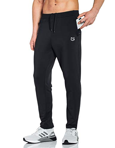 G Gradual Men's Sweatpants with Zipper Pockets Tapered Track Athletic Pants for Men Running, Exercise, Workout (Black, Medium)