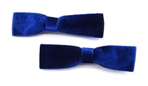 onweerstaanbaar1 pak van 2 luxe zacht fluweel lint strik op snavel haarspeldjes in marine