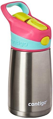 Garrafa Térmica Inox Infantil com Bico e Canudo Retrátil, Contigo, Rosa, 295ML
