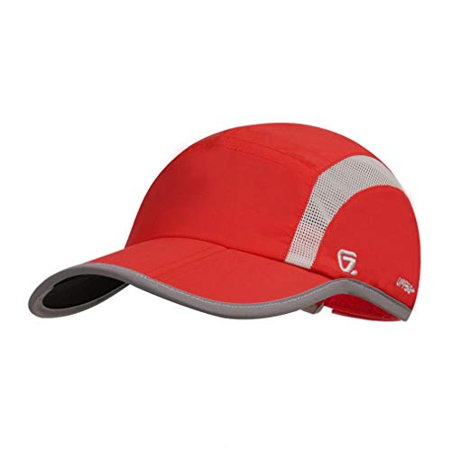 GADIEMKENSD Adjustable Quick Drying Reflective Foldable Running Cap Outdoor Sports Hat 40+ UPF Inhibit UV Mesh Race Performance Water Repellency Baseball Cap (Red)