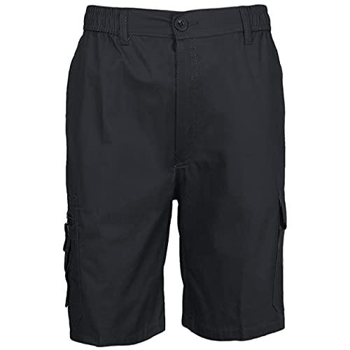 Pantalón Trabajo Corto Multibolsillo con Cintura Elástica Pantalón de Trabajo Corto de Verano Hombre Uniforme Laboral Industrial Azul Oscuro XXL