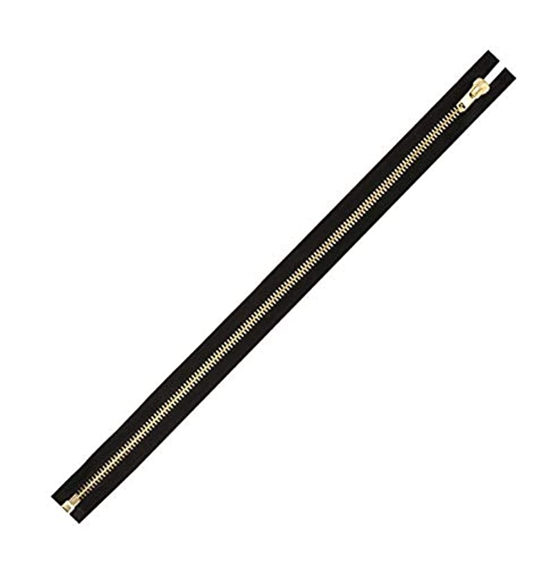 Mandala Crafts Separating Metal Zipper for Sewing, Bags, Coats, Jackets, Upholstery, Clothing, and Replacement; Heavy Duty, 1 Pack (Black Tape Gold Tone Tooth, Size 10 23 Inches)