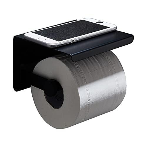 YTTS Porta Carta Igienica, Porta Carta Igienica Nero Supporto per Parete Porta Rotolo Carta Igienica in Acciaio Inossidabile 304 con Ripiano per Bagno, Toilette