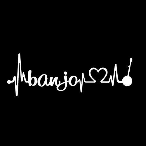 MCTYLI 15,2 cm x 5,2 cm Banjo Heartbeat Lifeline Fidle sticker vinyl zwart/zilver