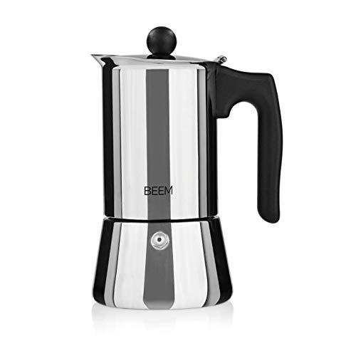 BEEM ESPRESSOMAKER Espressokocher - 4 Tassen | Classic Selection | Herdkocher | Induktion | Edelstahl | Espresso - Kanne | Mokkakanne| Klassisch