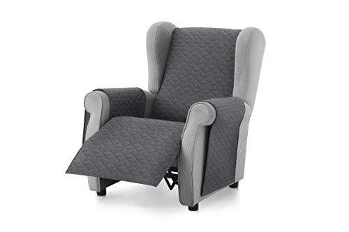 Textil-home Sesselschoner Sofaüberwurf Adele, 1 Sitzer/Relax - Reversibel gepolsterter Sofaschutz. Farbe Grau