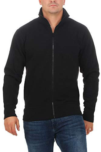 Happy Clothing Herren Sweatjacke ohne Kapuze Zip-Jacke Reißverschluss mit Kragen, Größe:3XL, Farbe:Schwarz