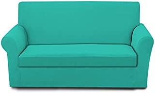 DBNMKK Couch Cover Set Fits Two Piece Sofa and Chair Durable Sofa Slipcover Wide Color Selection Spandex Stretchable Furniture Protector Machine Washable (Aqua,Sofa)