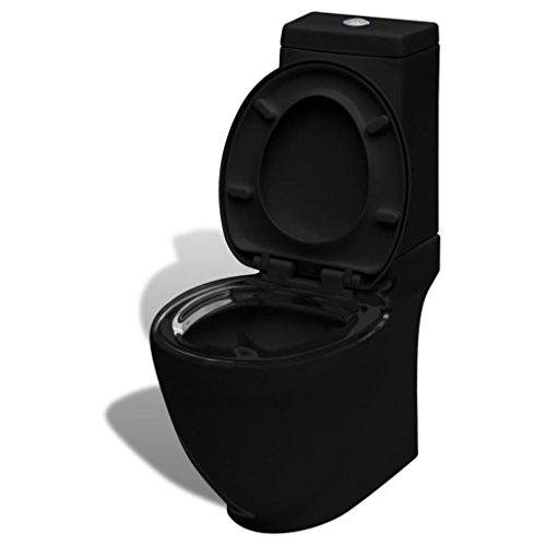 Festnight Stand-Toilette/WC Bodenstehend Design Toilette Keramik Schwarz