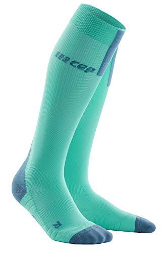 CEP Run WP40CX 3.0 - Calcetines de compresión para mujer, color verde y gris, todo el año, Mujer, color Color gris., tamaño Gr.3 = 32-38 cm