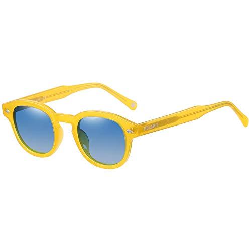 Occhiali da Sole Rotondi Vintage Montature Giallo Donna Uomo Lenti Lenti Blu Polarizzati TR90 Acetato