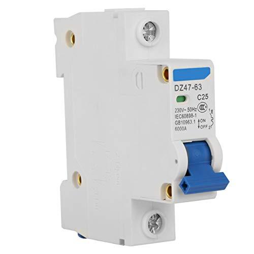 Disyuntor en miniatura 1P 230V Interruptor de aire Protección contra fugas Eléctrico retardante de llama de alta sensibilidad para sistemas de generación de energía pequeños(25A)