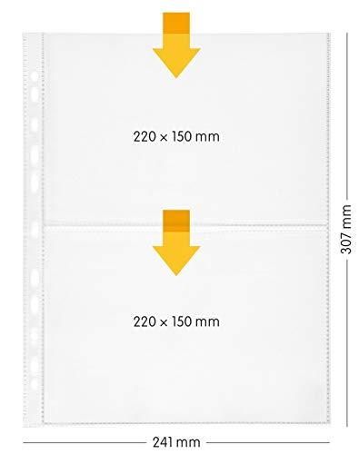 perfect line 100 fundas para guardar transparentes A4, divididas en 2 partes (A5-transversal), lámina transparente con inserción por alto