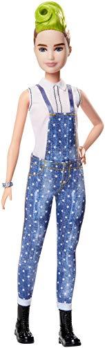 Barbie FXL57 - Fashionistas Puppe im Latzhosenoutfit mit grüner Haarsträhne, Spielzeug ab 3 Jahren