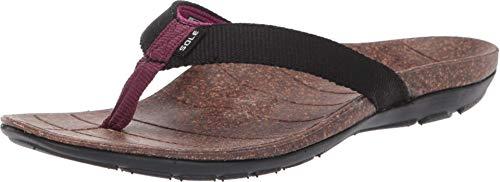 SOLE Women's Santa Cruz Flip Flops Black 8