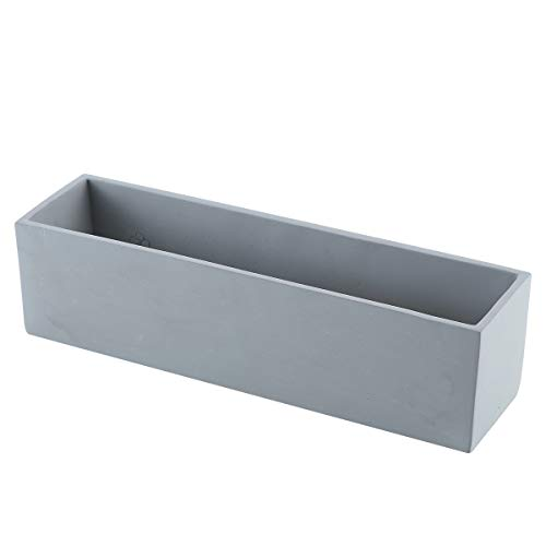 Ten-stone 15Inch Rectangular Cement Cactus Planter Concrete Succulent Planter Windowsill Box