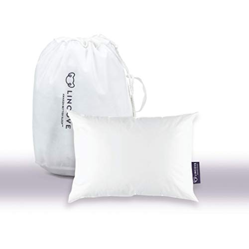 Lincove 100% Goose Down Travel Pillow – The Mini Goose Down Pillow for Travel and Toddler – 800 Fill Power, 100% Cotton Shell, 600 Thread Count (13 x 18)…