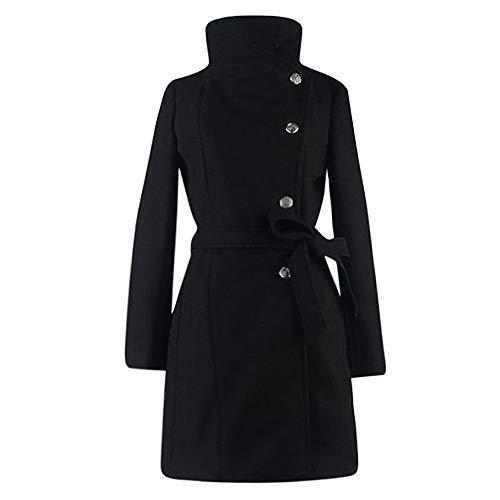 NPRADLA 2018 Herbst Mantel Damen Winter Lang Elegant Festlich Frauen Wollmantel Trench Jacke Outwear Revers Langarm Einfarbig(Schwarz,2XL/EU Gr.46)