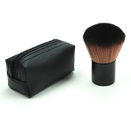 La poudre de fard à joues de brosse de poignée en métal de forme ronde de femmes composent la beauté cosmétique composent la brosse de voyage de brosse pour l'usage personnel (noir)
