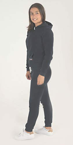 Gennadi Hoppe Kinder Sweat Jogginganzug Sportanzug Trainingsanzug, schwarz, 146/152