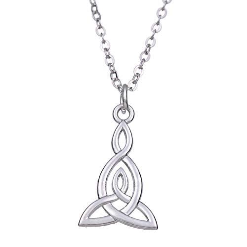 YioKpro Skyrim Infinity Love Triangle Celtics Nudo Colgante Collar Antiguo Astilla Larga Cadena de eslabones Collares Mujeres Hombre joyería vikinga