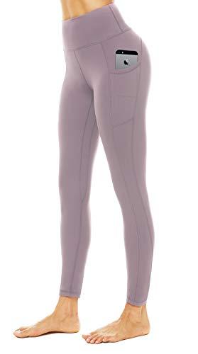 JOYSPELS Leggings Damen, Lange Sporthose damen mit Taschen Blickdicht Sport leggings Sportleggins Damen Lang, Rosa, S