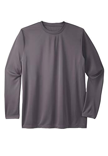 KingSize Men's Big & Tall Moisture Wicking Long-Sleeve Crewneck Tee - Big - 4XL, Charcoal