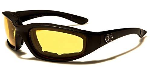 Chopper - Occhiali da moto da sole, biker, croce guida notturna, uomo e donna, lenti giallo