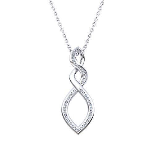 0.21 Carat IGI Certified Infinity Diamond Pendant Necklace for Women in 925 Sterling Silver (H-I to I-J Color, SI2-I1 Clarity)