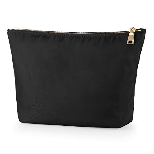 FOREGOER Large Makeup Bag Clutch Pouch Cosmetic Toiletry Bag for Womens (Large, Black)
