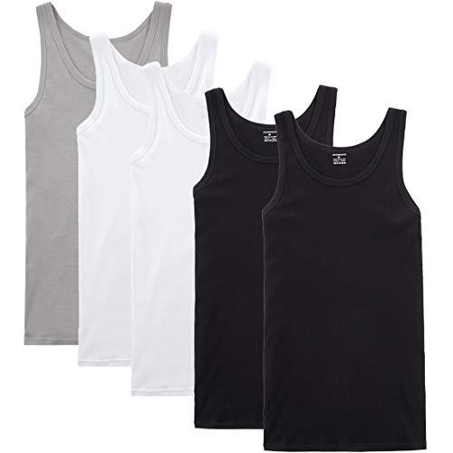 YOUCHAN Unterhemd Herren Tank Top 5er Pack Feinripp Muskelshirts Baumwolle alle Größen und Farben-Schwarz Weiß Grau-L
