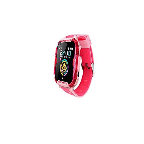 Reloj Niña,Nuevo 4G Smart Phone Watch Watch GPS Posicionamiento Video Llamada AI Voz Educación Earlada HD Pantalla Toque-Rosa