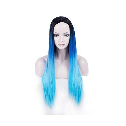 GAXQFEI Naturel Blue Synthetic Dentelle Perruque Mélanger Couleurs Dégimentation Synthétique Longue Perruque Droite Naturelle Girl Girl Girl Fantaisie Perruque Daily Wig