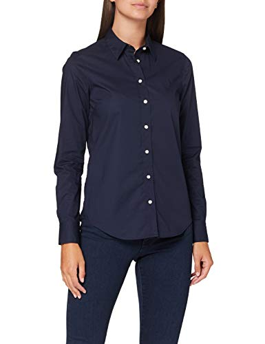 GANT Damen SOLID Stretch Broadcloth Shirt Hemd, Evening Blue, 42