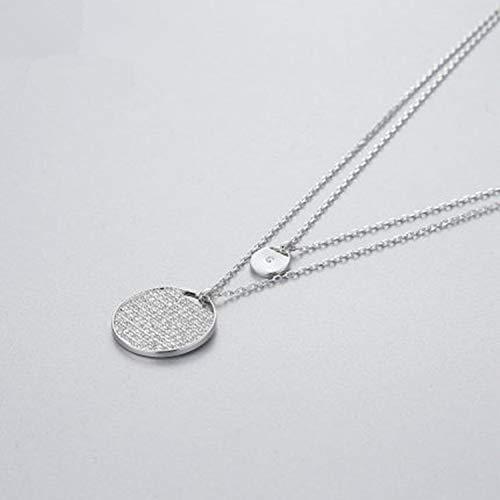 Collar Doble Raqueta de Cristal Colgante Nivel de Moda Mujeres Coreanas Collar de Cadena de clavícula joyería A